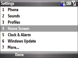 Settings menu with focus on home screen