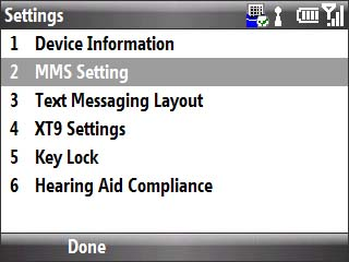 Setting menu with focus on mms setting