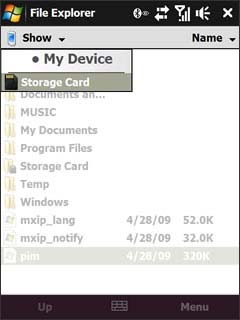 File Explorer Storage Card