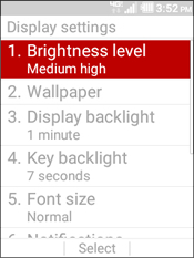 Select Brightness Level
