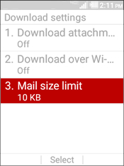 Select Mail Size Limit