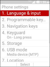 Select Language & Input