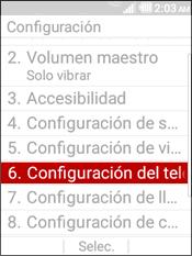 Select Configuracion del Telefono