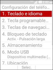 Select Teclado e Idiioma