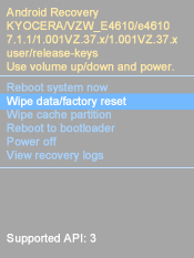 Select Wipe Data/Factory Reset