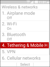 Select Tethering and Mobile Hotspot