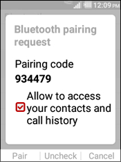Select Allowing Access to the Contacts and Call History