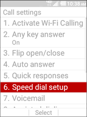 Select Speed Dial Setup