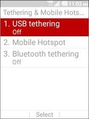 Seleccionar USB Tethering