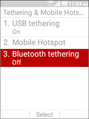 Select Bluetooth Tethering