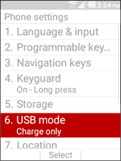 Select USB Mode