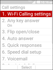 Select Wi-Fi Calling Settings