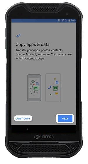 Copy Apps and Data screen