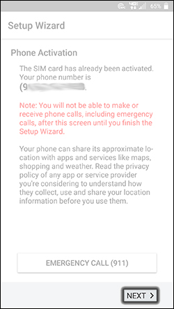 Setup Wizard Phone Activation screen