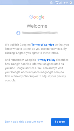 Terms of Service and Privacy screen