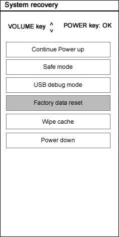 Select Factory Data Reset