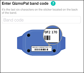 GizmoPal band code enter