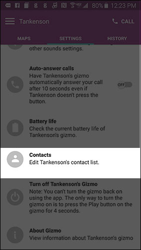 Gizmo Settings contacts