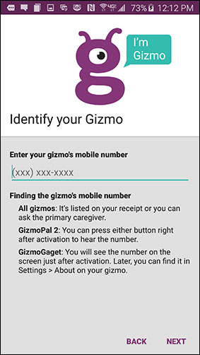 Identify Gizmo screen