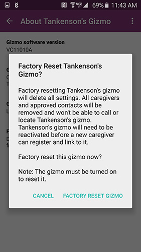 Factory Reset Pop Up