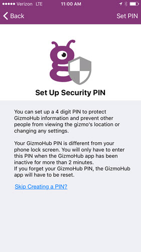 Security PIN screen