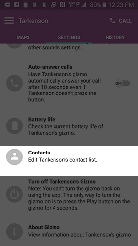 Settings contacts screen