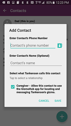 Add contact pop-up