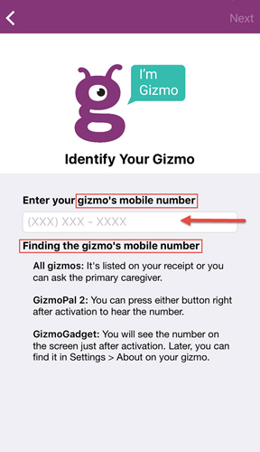 Enter Gizmo number