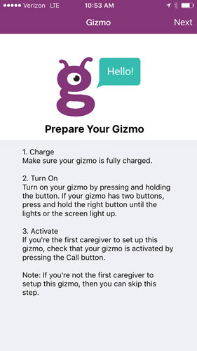 Pantalla de preparación de Gizmo