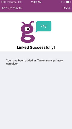 Linked successfully screen