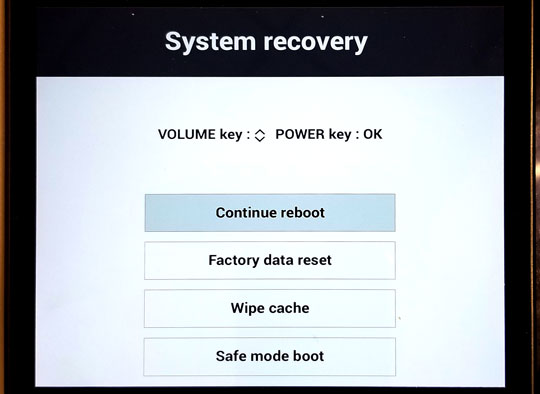 System recovery screen