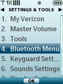 Select Bluetooth Menu