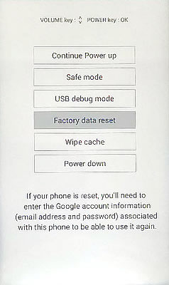 Factory Data Reset Screen