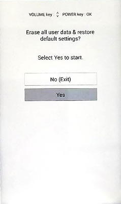 Select Yes Screen