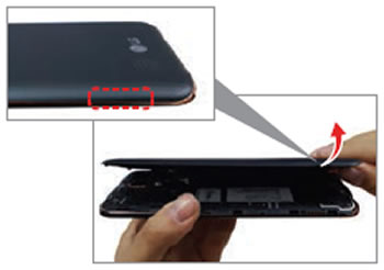 Open Battery cover