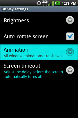 Display settings with Animation