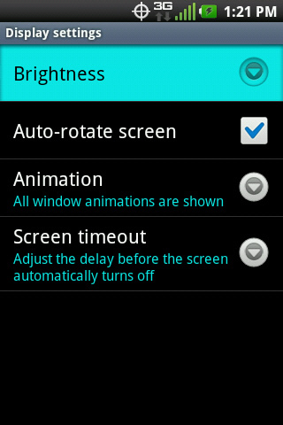 Display settings with Brightness