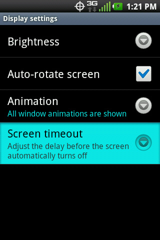Display settings with Screen timeout
