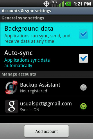 Accounts & sync settings with Background data