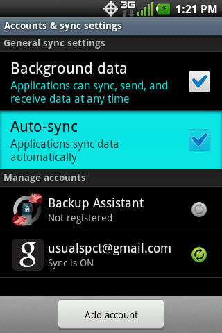 Accounts & sync settings with Auto-sync