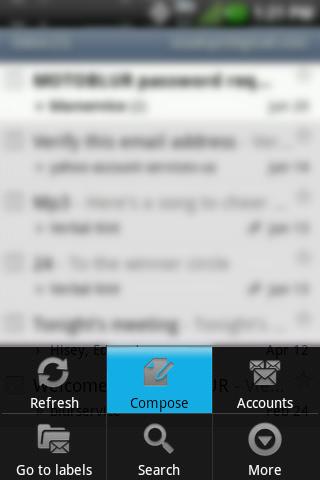 Inbox menu con Compose