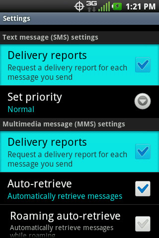 Messaging settings with Delivery reports