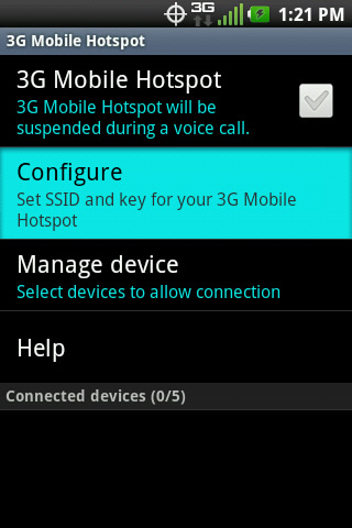 Mobile Wi-Fi hotspot settings with Configure