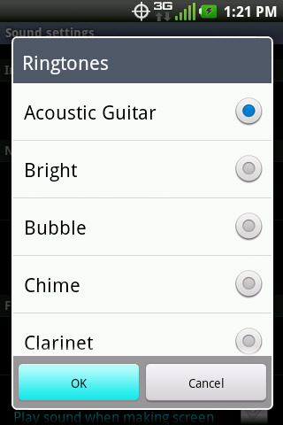 Ringtones with available options