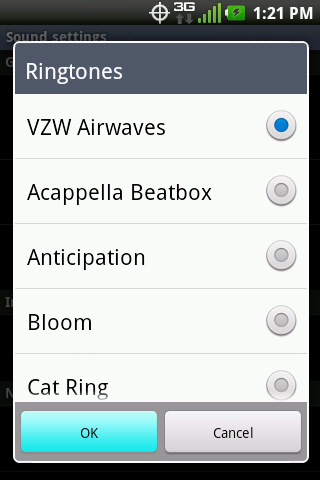 Ringtones with available options and OK