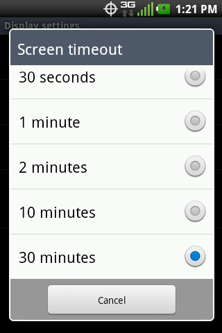 Screen timeout with available settings