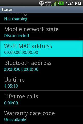Status con WiFi Mac Address