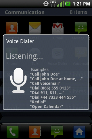 Voice Commands screen