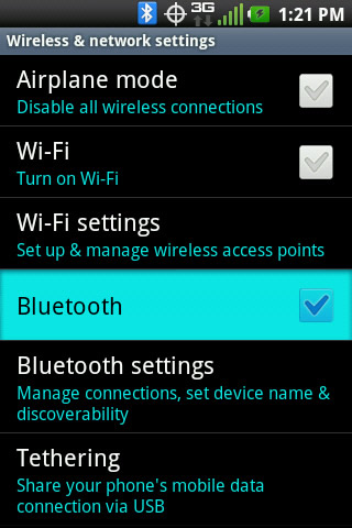 Wireless & network settings with Bluetooth