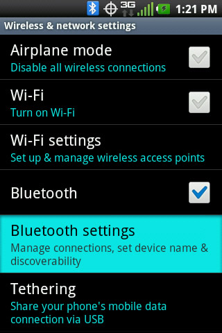 Wireless & network settings with Bluetooth settings